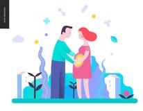 Reproduktion - ett gravid par royaltyfri illustrationer