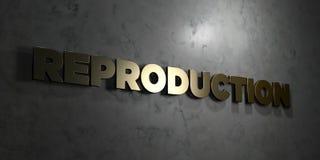Reproduktion - guld- text på svart bakgrund - 3D framförd fri materielbild för royalty vektor illustrationer