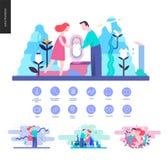 Reproduktion - illustrationer och skisserade symboler vektor illustrationer