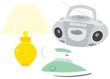 Reprodutor de CDs, lâmpada e ferro Fotografia de Stock Royalty Free