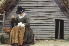 Repromulgación viva de la historia de peregrinos Foto de archivo