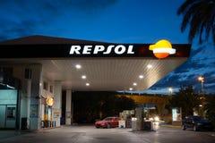 Repsol加油站 免版税库存照片