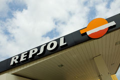 Repsol Filling Station. A Repsol Filling Station sign with a blue sky background Royalty Free Stock Photography