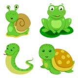 Reptielen en Amfibieen Decoratieve Reeks in beeldverhaalstijl geïsoleerde vectorillustratie Royalty-vrije Stock Afbeelding