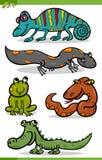 Reptil- und Amphibienkarikatursatz Stockfotos