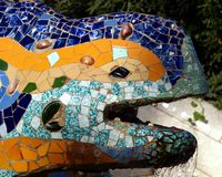 Reptile Fountain in Barcelona Royalty Free Stock Images