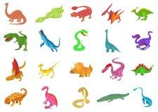 Reptile icon set, cartoon style. Reptile icon set. Cartoon set of reptile vector icons for web design isolated on white background Royalty Free Stock Photo