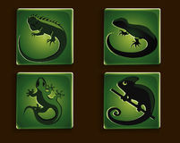 Reptile Icons. Four modern green icons with different reptiles Royalty Free Illustration