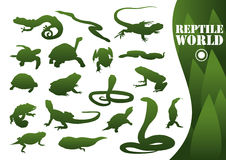 Reptile silhouettes isolated. On white. Vector illustration Stock Photography