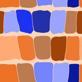 Reptile skin seamless pattern blue and orange spots background. Stock Image
