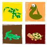 Reptiles. Four reptiles in funny illustration Stock Images