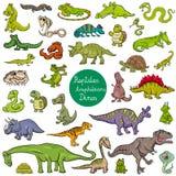 Reptiles and amphibians characters set. Cartoon Illustration of Reptiles and Amphibians Animal Characters Big Set Royalty Free Stock Image