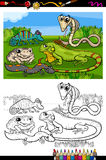 Reptiles and amphibians coloring book. Coloring Book or Page Cartoon Illustration of Black and White Funny Reptiles and Amphibians Group for Children Stock Photo