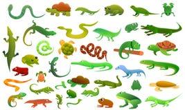 Reptiles amphibians icons set, cartoon style royalty free illustration