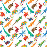 Reptiles animals vector seamless pattern. Royalty Free Stock Photography