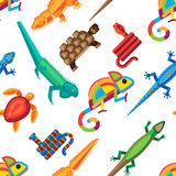 Reptiles animals vector seamless pattern. Royalty Free Stock Image