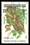 Reptiles, Boa Constrictor. Cambodia - stamp printed 1983, Memorable issue of offset printing, Topic Wildlife Fauna, Series Reptiles, Boa Constrictor Royalty Free Stock Photography