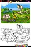 Reptiles et livre de coloriage d'amphibies Photo stock