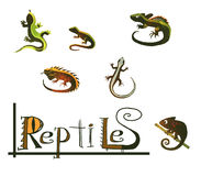 Reptiles icons. Set of icons with reptiles Stock Illustration