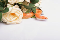 Reptiles on white background. Orange striped snake  with smooth skin near  beautiful  bunch of white roses    isolated on white background   with copy place Royalty Free Stock Photography