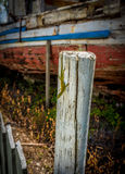 Reptilian Abandonment. Lizard on an old post in front of a boat Stock Photos