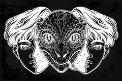 Reptilian space alien face in disguise as a boy. Portriat of the reptilian alien from outer space face in disguise as a human boy. UFO sci-fi, tattoo art Stock Image