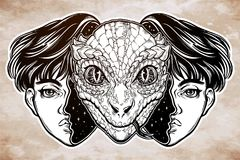 Reptilian space alien face in disguise as a boy. Portriat of the reptilian alien from outer space face in disguise as a human boy. UFO sci-fi, tattoo art Stock Photo