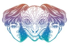 Reptilian space alien face in disguise as a boy. Portriat of the reptilian alien from outer space face in disguise as a human boy. UFO sci-fi, tattoo art Royalty Free Stock Images
