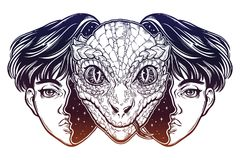 Reptilian space alien face in disguise as a boy. Portriat of the reptilian alien from outer space face in disguise as a human boy. UFO sci-fi, tattoo art Stock Photography