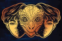 Reptilian space alien face in disguise as a boy. Portriat of the reptilian alien from outer space face in disguise as a human boy. UFO sci-fi, tattoo art Royalty Free Stock Photos