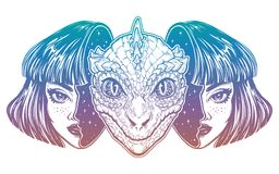 Reptilian space alien face in disguise as a girl. Portriat of the reptilian alien from outer space face in disguise as a human girl. UFO sci-fi, tattoo art Royalty Free Stock Photography
