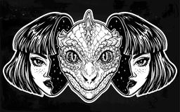 Reptilian space alien face in disguise as a girl. Portriat of the reptilian alien from outer space face in disguise as a human girl. UFO sci-fi, tattoo art Stock Photo
