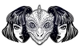 Reptilian space alien face in disguise as a girl. Portriat of the reptilian alien from outer space face in disguise as a human girl. UFO sci-fi, tattoo art Stock Photography