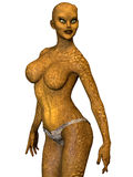 Reptilian woman covered in scales Royalty Free Stock Photography
