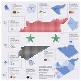 Repubblica araba siriana Infographic di Dot And Flag Map Of Fotografia Stock