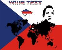 Repubblica ceca sul worldmap Immagine Stock Libera da Diritti