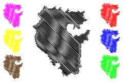 Repubblica del vettore della mappa di Bashkortostan Illustrazione di Stock
