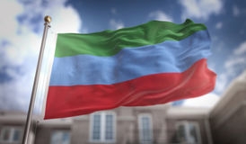 Repubblica della rappresentazione della bandiera 3D di Dagestan sul cielo blu che costruisce indietro Immagine Stock Libera da Diritti