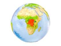 Repubblica Democratica del Congo sul globo isolato Immagini Stock Libere da Diritti