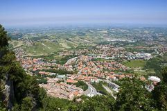 Repubblica di San Marino - Postcard up view of tow Stock Image