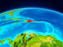 Repubblica dominicana dall'orbita Fotografie Stock Libere da Diritti
