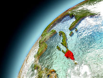 Repubblica dominicana dall'orbita di Earth di modello Immagine Stock