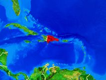 Repubblica dominicana su terra con i confini fotografie stock libere da diritti