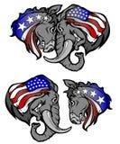 Repubblicano contro l'asino e l'elefante del Democrat Fotografia Stock Libera da Diritti
