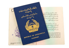 Republic of Afghanistan Passport. On white background Royalty Free Stock Photography
