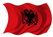 Republic Of Albania Flag. The Flag of the Republic of Albania on white background billowing in the wind Royalty Free Stock Image