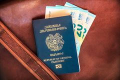 Republic of Armenia Passport, Vacation Concept stock photography