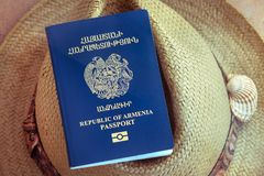 Republic of Armenia Passport, Travel stock images