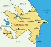Republic of Azerbaijan - map - vector Royalty Free Stock Photos