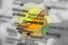 Republic of Cameroon. Cameroon, officially the Republic of Cameroon, Africa black and white selective focus Stock Photos